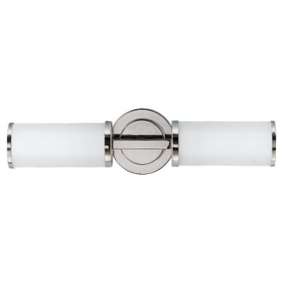 Industrial Revolution 19 in. W 2-Light Polished Nickel Vanity Light with Round Backplate and Cylinder Opal Glass Shades