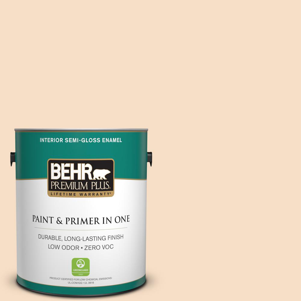BEHR Premium Plus 1-gal. #HDC-SP14-3 Faint Peach Zero VOC Semi-Gloss Enamel Interior Paint