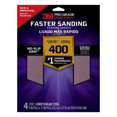 9 in x 11 in, 400 Grit , X-Fine, Pro Grade Precision Faster Sanding Sanding Sheets, 4/pk