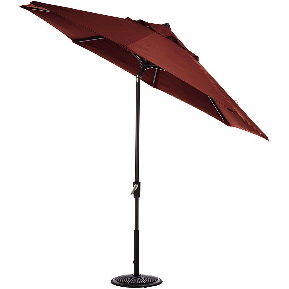 Home Decorators Collection 7.5 ft. Auto-Tilt Patio Umbrella in Henna Sunbrella with Black Frame