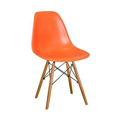 Paris Tower Orange Dining Side Chair with Wood Legs (Set of 2)