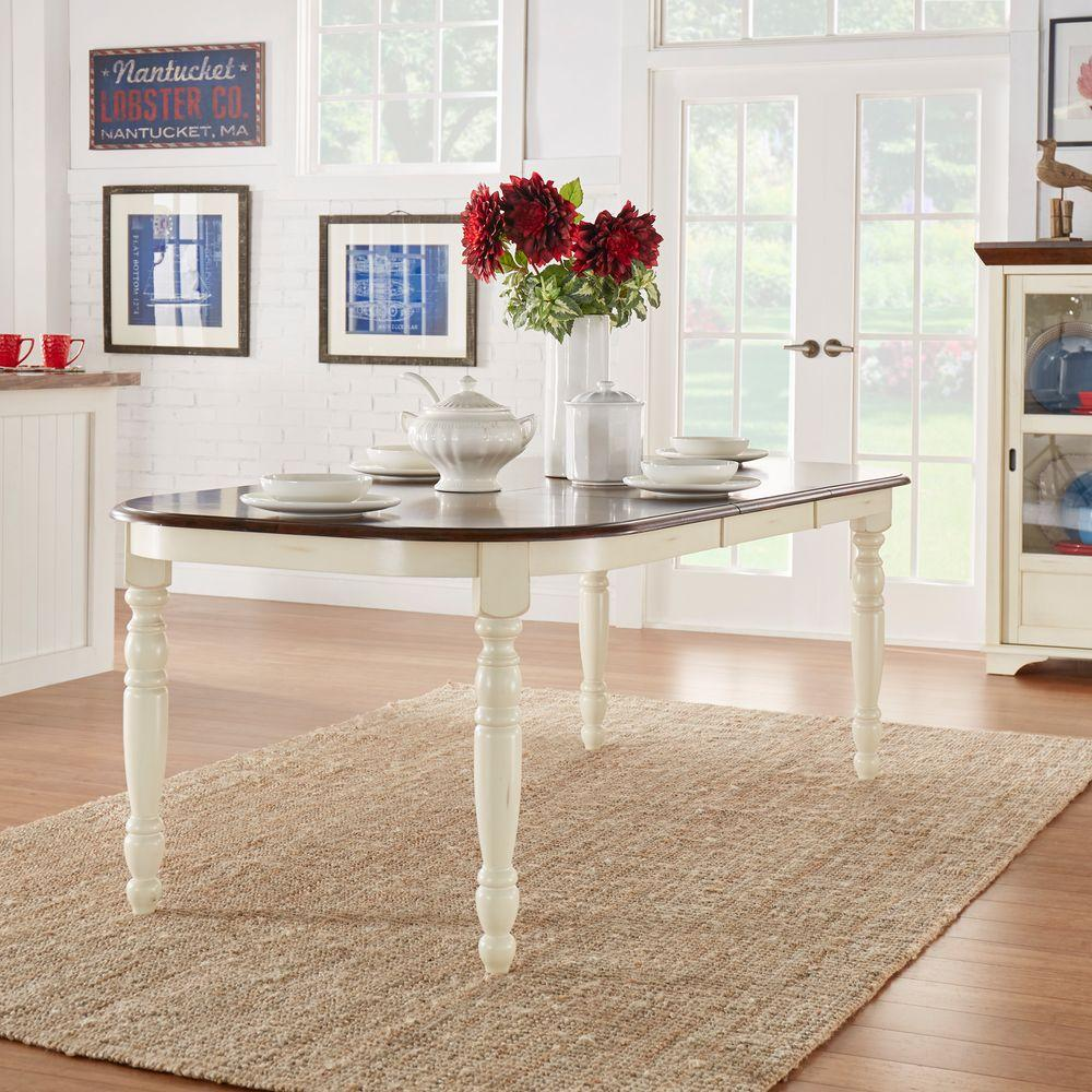 Homesullivan Anna Antique White Extendable Dining Table