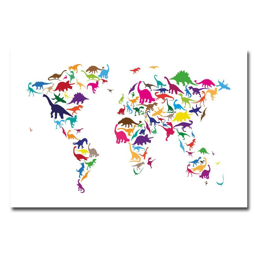 Trademark Fine Art 16 in. x 24 in. Dinosaur World Map Canvas Art