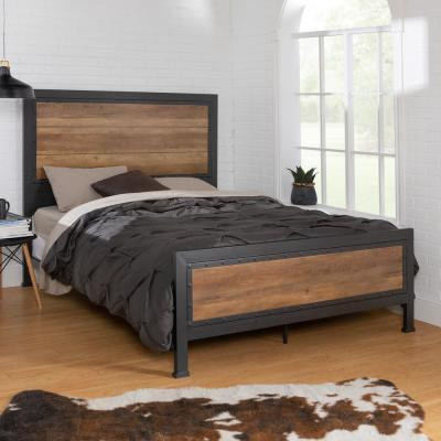 Queen Size Rustic Oak Industrial Wood and Metal Bed