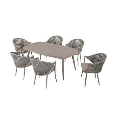 7-Piece Aluminum Outdoor Dining Set with Coffee Cushion