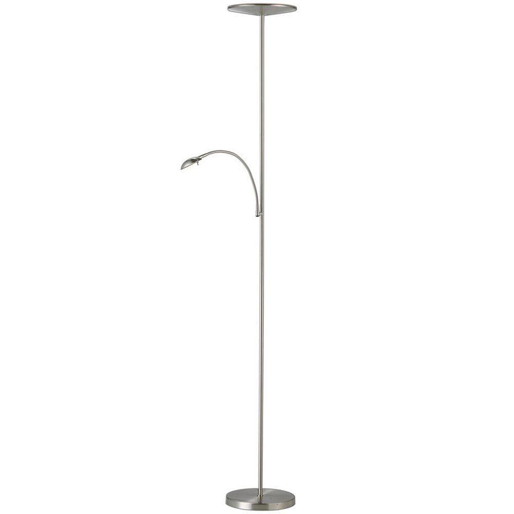 Led floor lamps lamps the home depot satin steel led combo torchiere mozeypictures
