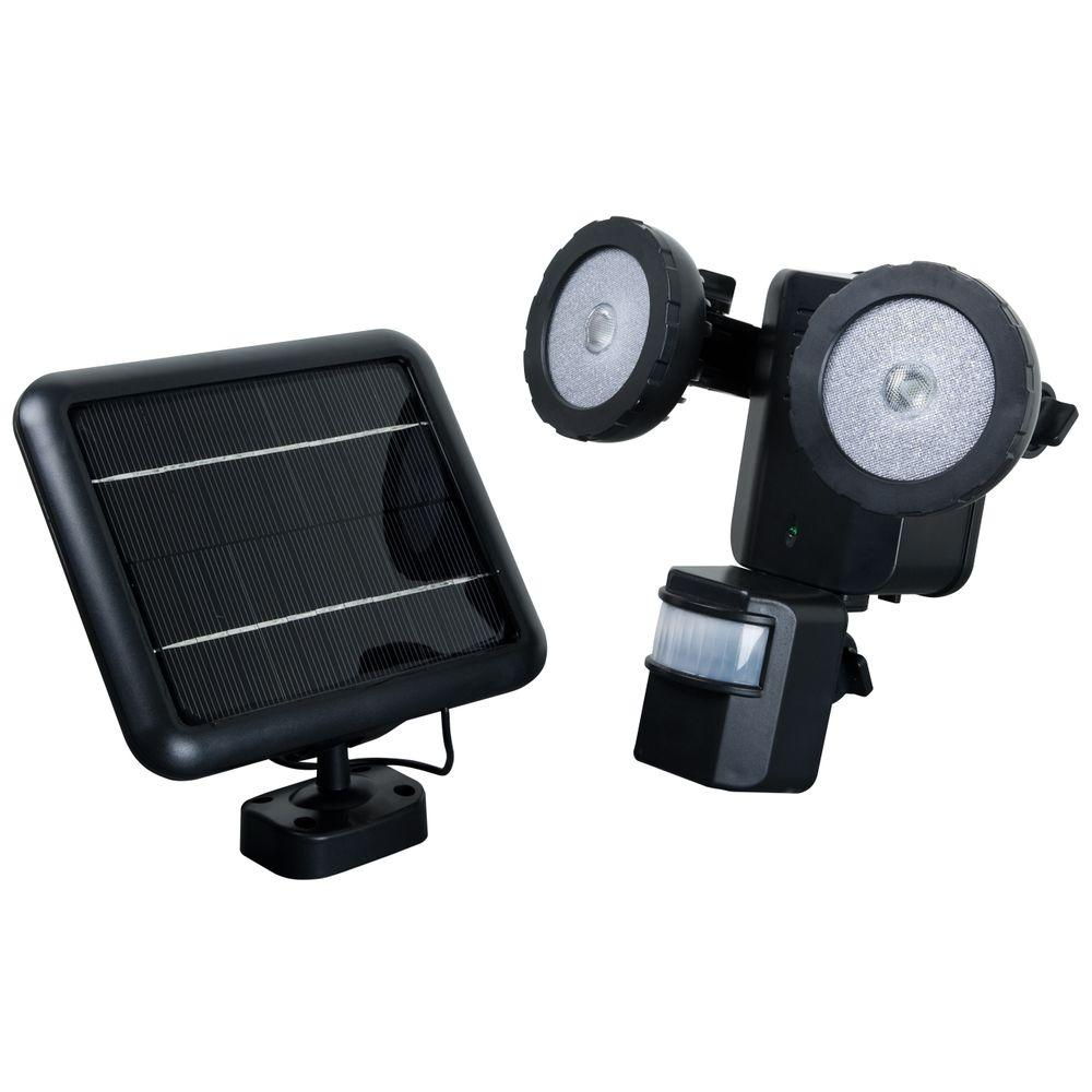 XEPA 600 Lumen 160 Degree Outdoor Motion Activated Solar Powered Black LED Security Light