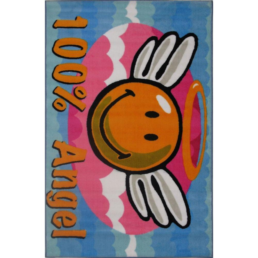 LA Rug Smiley Angel Multi Colored 19 in. x 19 in. Accent Rug