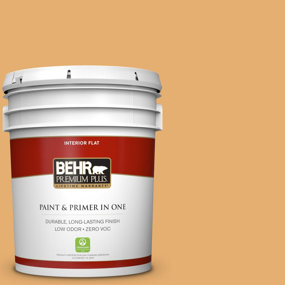 BEHR Premium Plus 5-gal. #M260-5 Mac N Cheese Flat Interior Paint