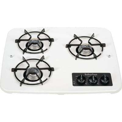 3-Burner Drop-In Cooktop in White