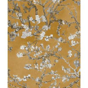 Almond Blossom Bold Floral Wallpaper Yellow Paper Strippable Roll (Covers 57 sq. ft.)
