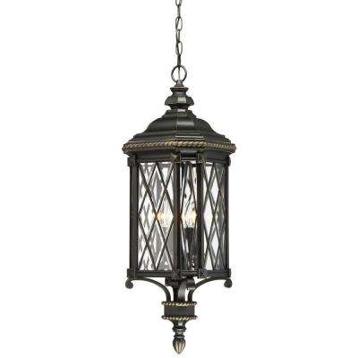 Bexley Manor 4-Light Black with Gold Highlights Chain Hung