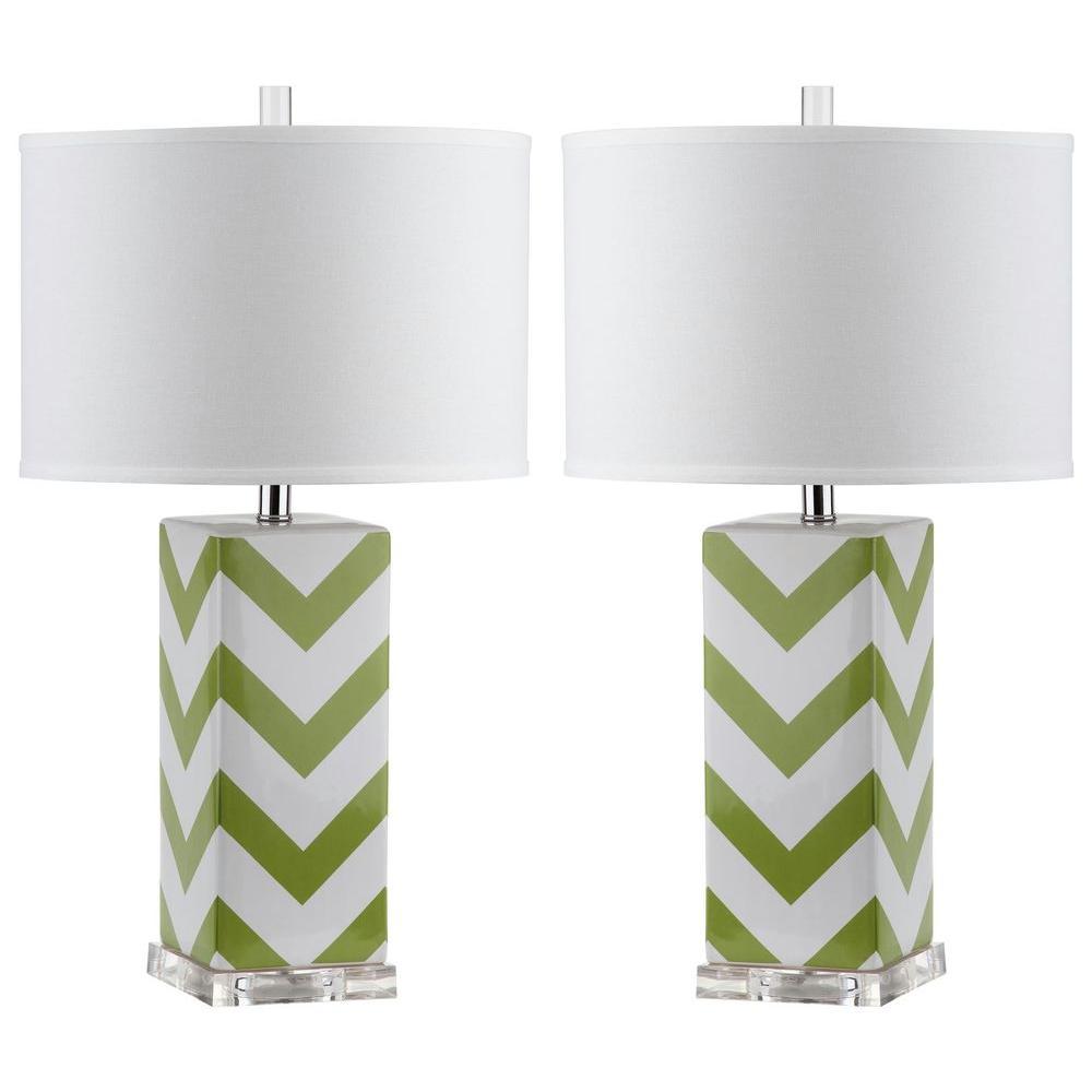 Chevron 27 in. Green Stripe Table Lamp (Set of 2)