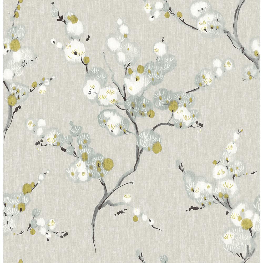 56.4 sq. ft. Bliss Blue Blossom Wallpaper