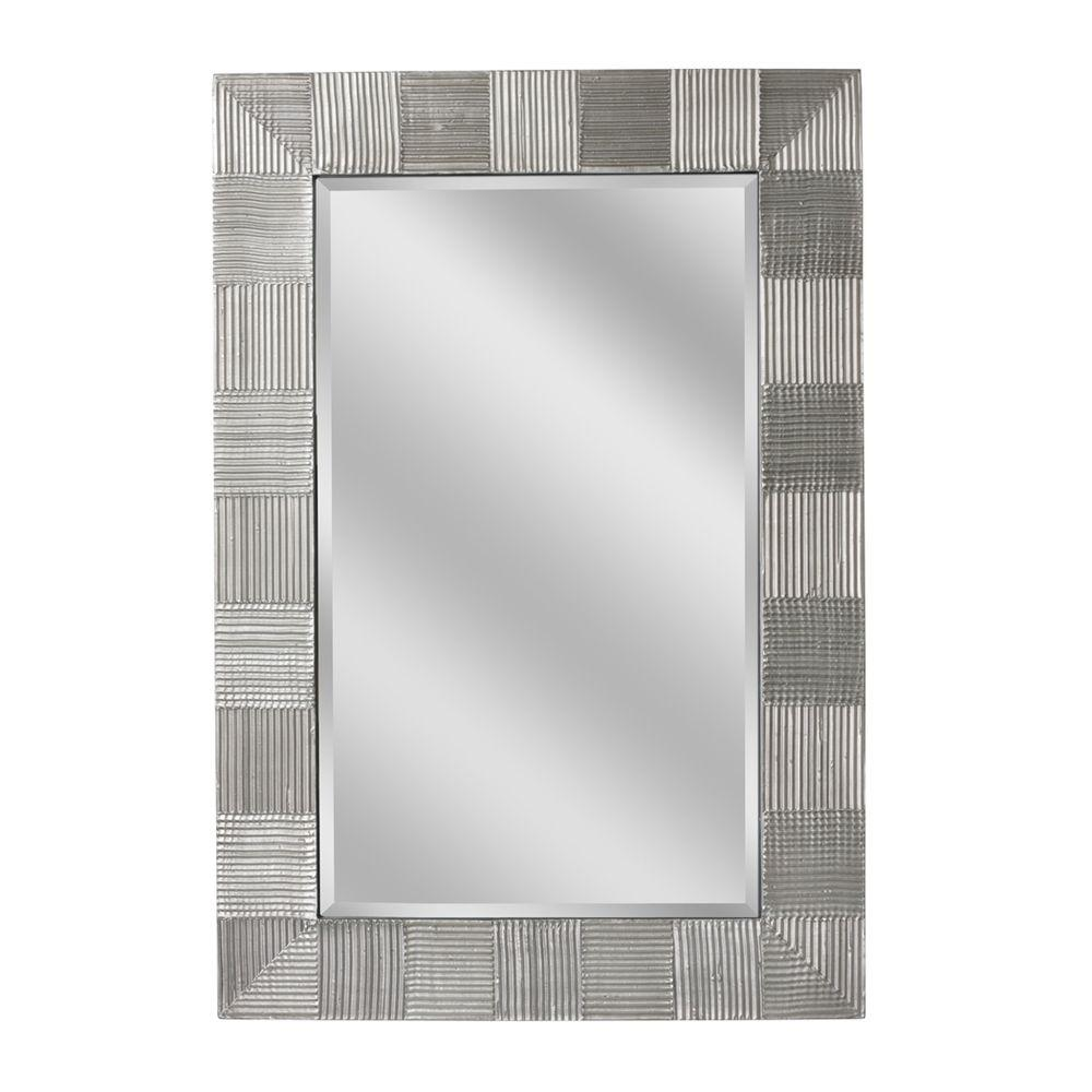 Deco Mirror 38 in. x 26 in. Crosshatch Raking Mirror in Nickel