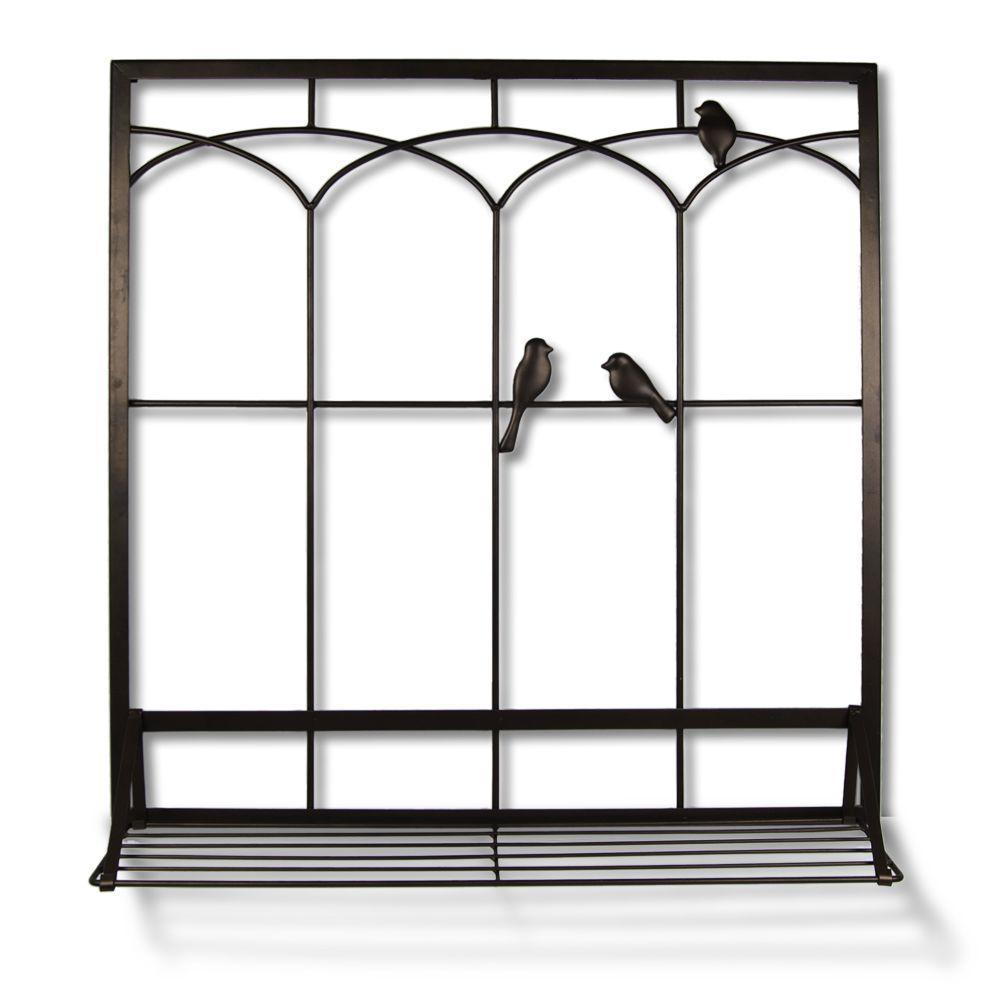null Birds in Window with Shelf 28 in. W x 30 in. H Metal Wall Art