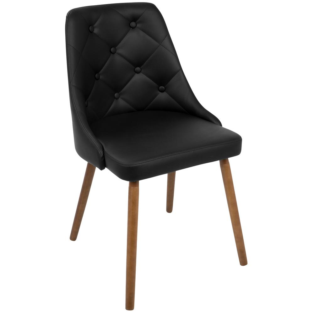 Lumisource Giovanni Mid Century Black Modern Button Tufted Dining Chair  Faux Leather