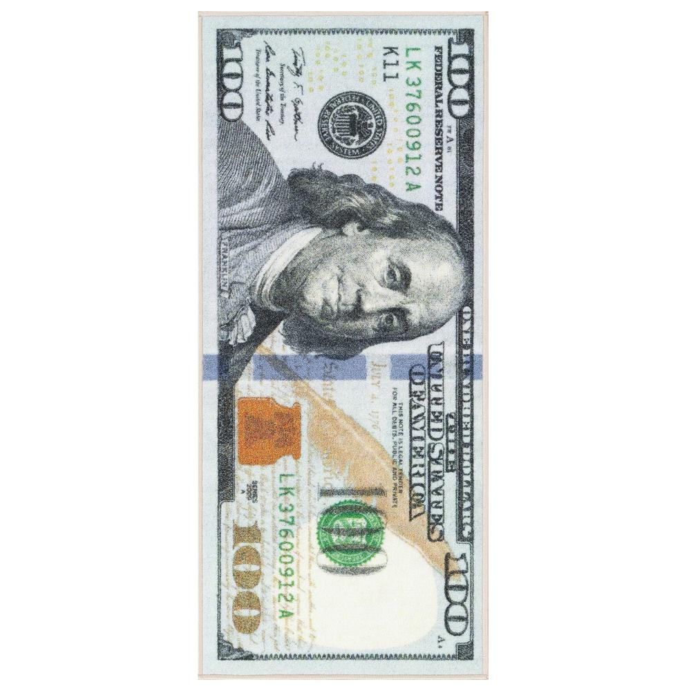 OTTOMANSON Ottomanson Siesta Kitchen Collection 100 Dollar Bill Design Multi 2 ft. x 4 ft. Runner Rug