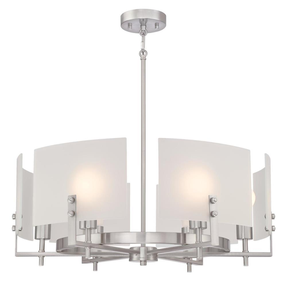 Enzo James 6-Light Brushed Nickel Chandelier with Frosted Glass Shades