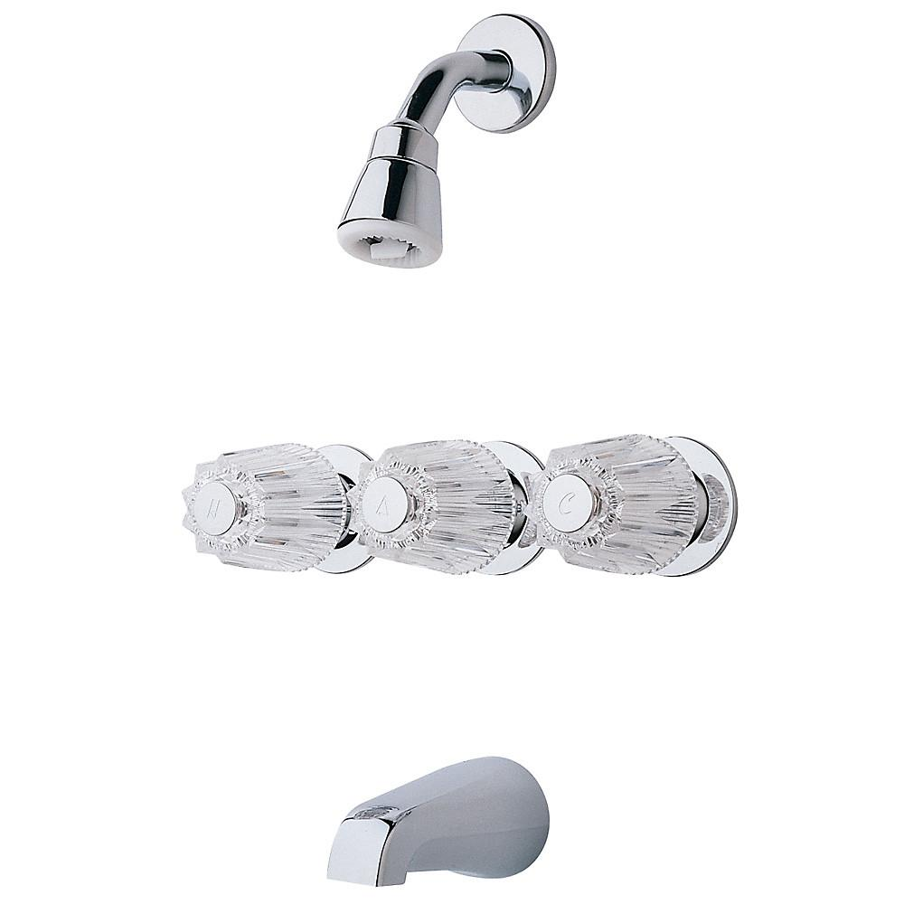 3-Handle 1-Spray Tub and Shower Faucet with Metal Verve Knob Handles