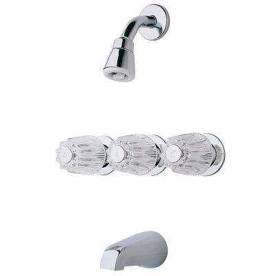 Pfister 3-Handle 1-Spray Tub and Shower Faucet with Metal Verve Knob Handles in Polished Chrome (Valve Included)