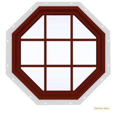 35.5 in. x 35.5 in. V-4500 Series Red Painted Vinyl Fixed Octagon Geometric Window with Colonial Grids/Grilles