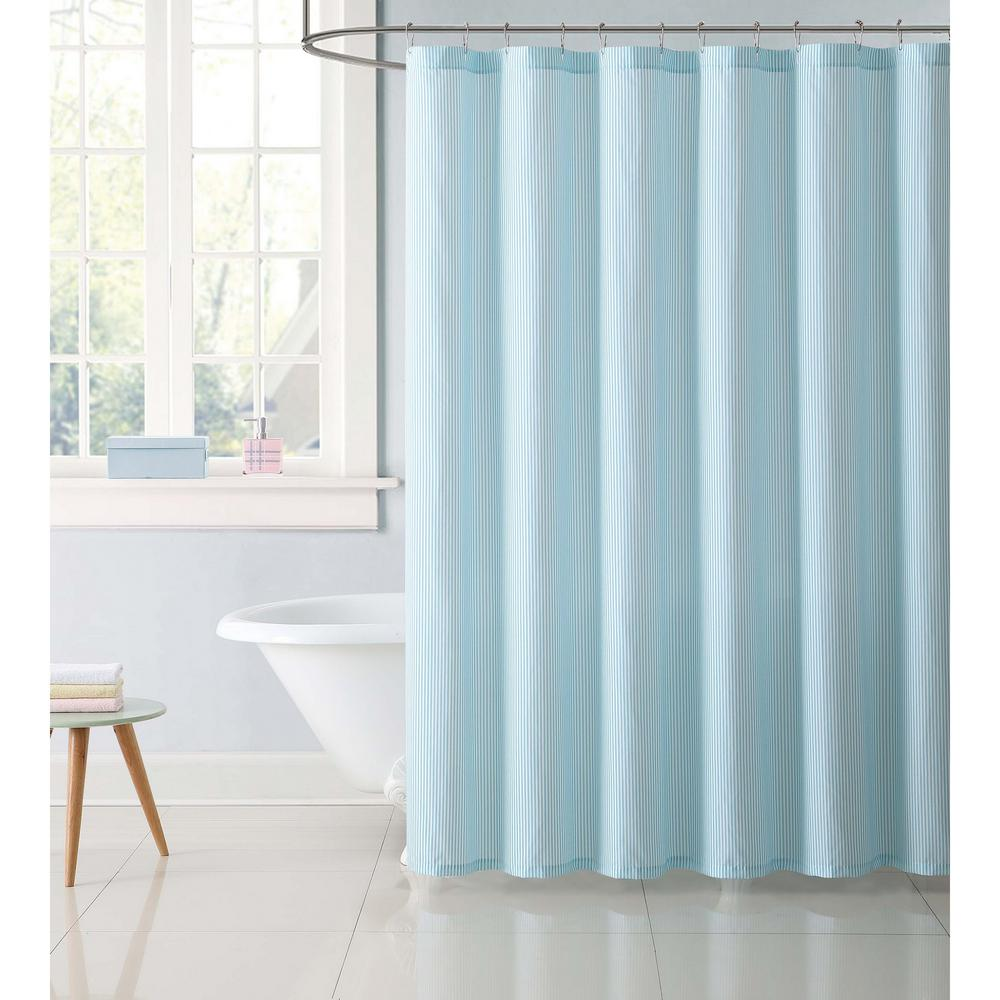 Kids 72 in. Stripe Aqua Shower Curtain