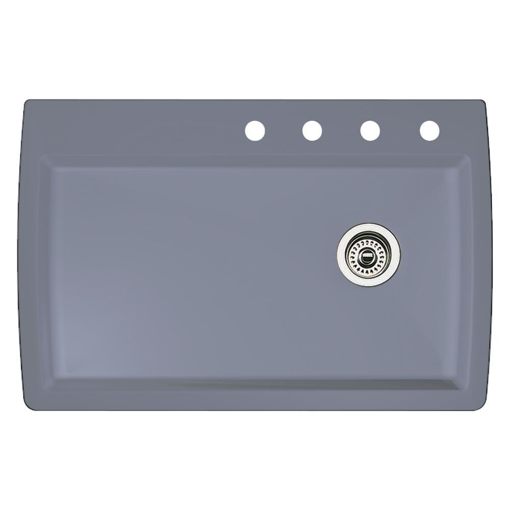 Diamond Dual-Mount Granite 33.5 in. 4-Hole Single Bowl Kitchen Sink in Metallic Gray