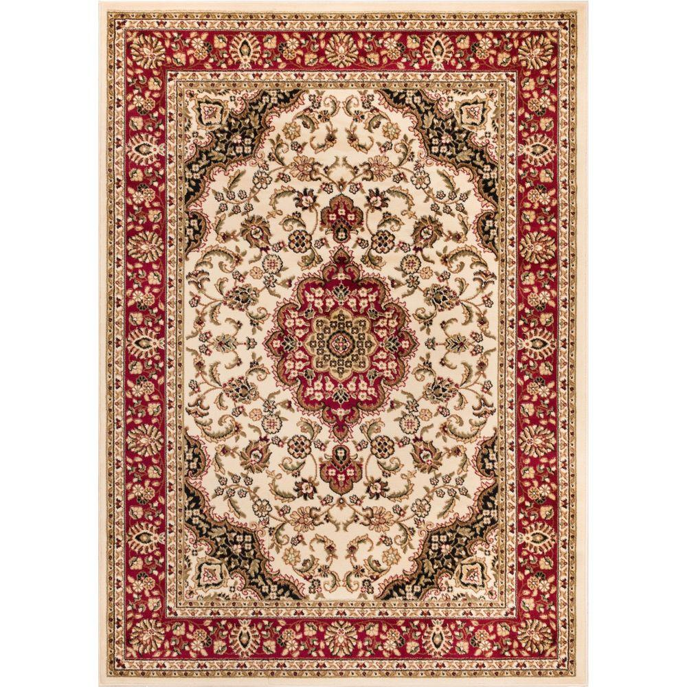 Well Woven Barclay Medallion Kashan Ivory 7 Ft X 10 Ft