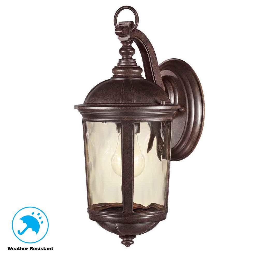 Leeds 1-Light Mystic Bronze Outdoor Wall Lantern