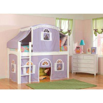 Windsor White Twin Low Loft with Lilac and White Top Tent, Bottom Curtain and Slide