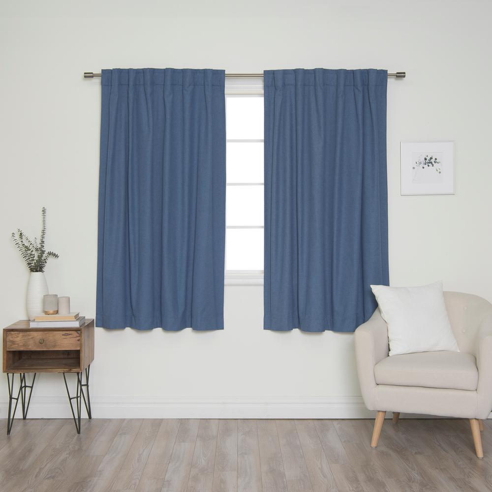 Best Home Fashion Linen Look 52 in. W x 63 in. L Back Tab Curtains in Blue (2-Pack)