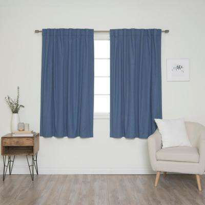 Linen Look 52 in. W x 63 in. L Back Tab Curtains in Blue (2-Pack)