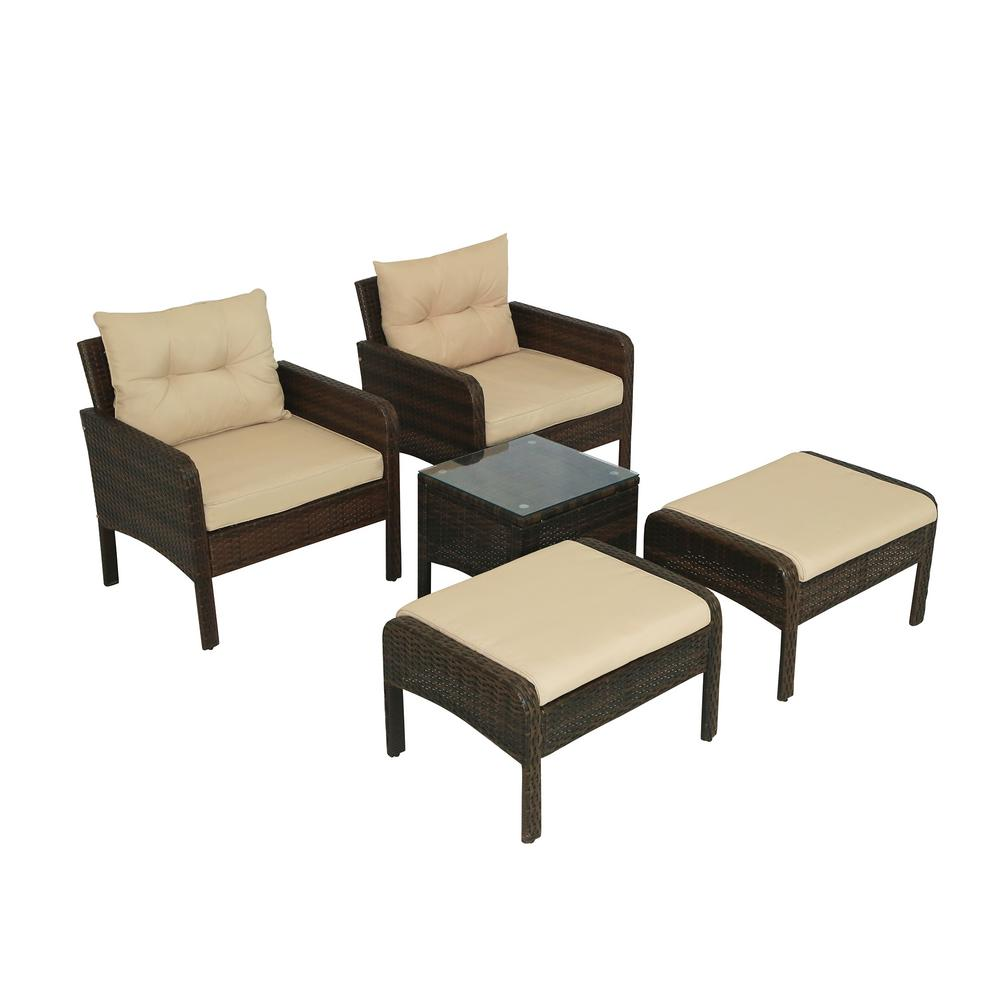 5-Piece Wicker Outdoor Dining Set with Brown Cushion
