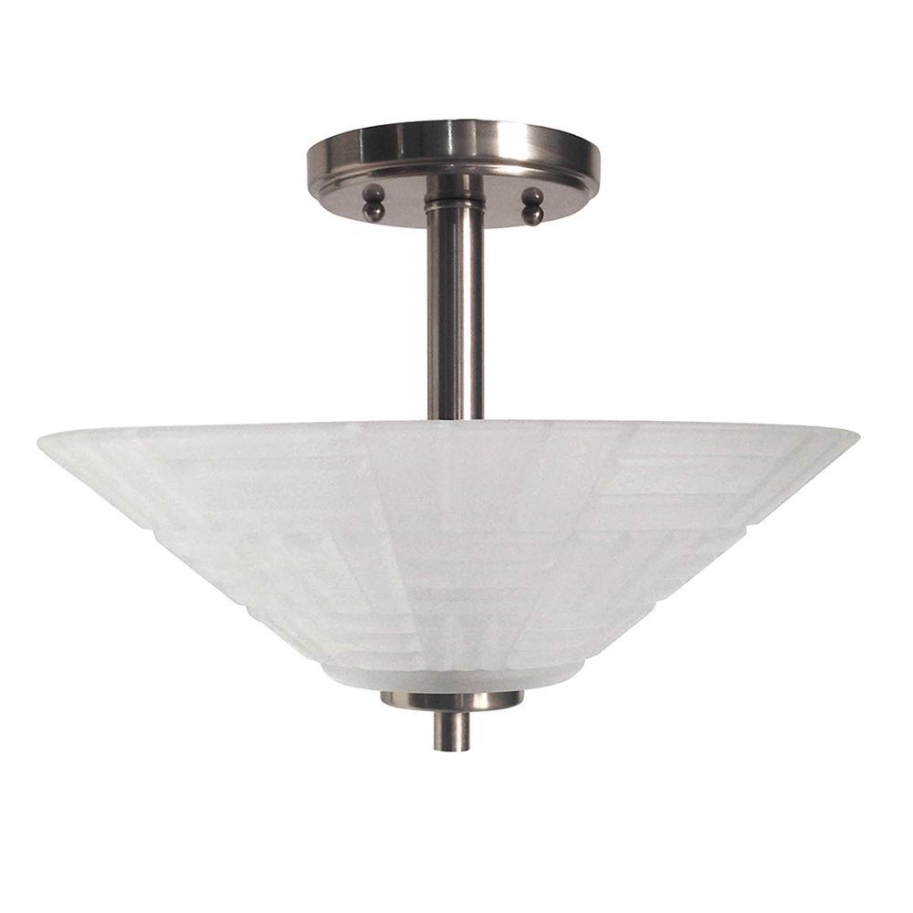 Houston 18-Watt Satin Nickel Integrated LED Ceiling Semi-Flushmount