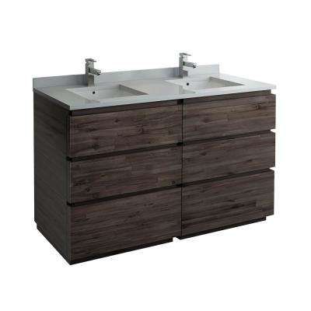 Formosa 58 in. W Modern Double Vanity Cabinet Only in Warm Gray