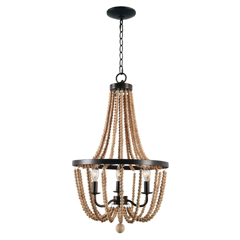Kenroy home regas 3 light wood bead chandelier 93133gbrz the home kenroy home regas 3 light wood bead chandelier aloadofball Image collections