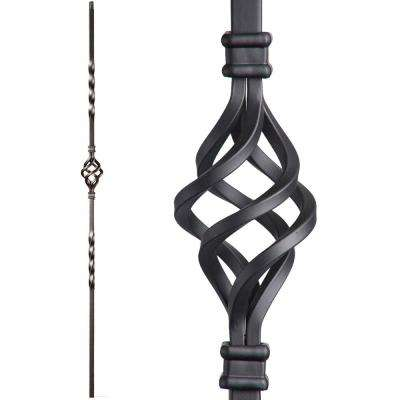 Twist and Basket 44 in. x 0.5 in. Satin Black Single Basket Hollow Wrought Iron Baluster