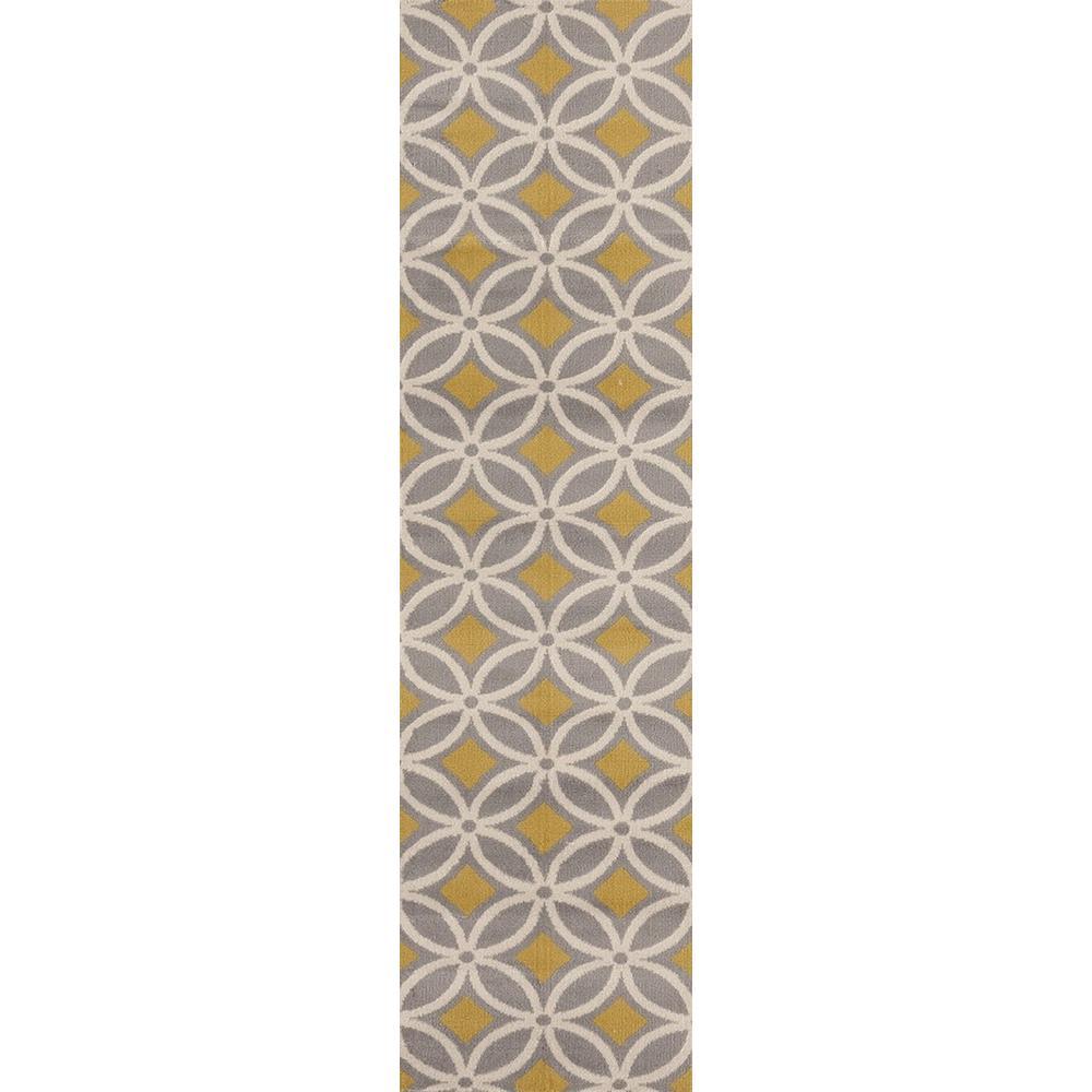 World Rug Gallery Contemporary Trellis Chain Gray Yellow 2