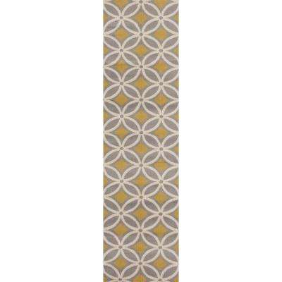 Contemporary Trellis Chain Gray/Yellow 2 ft. x 7 ft. 2 in. Runner