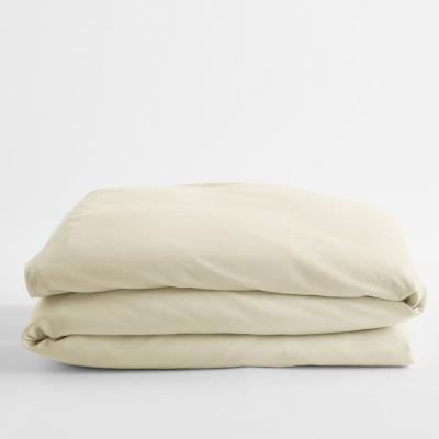 Organic Cotton Jersey Knit Natural Solid Queen Duvet Cover