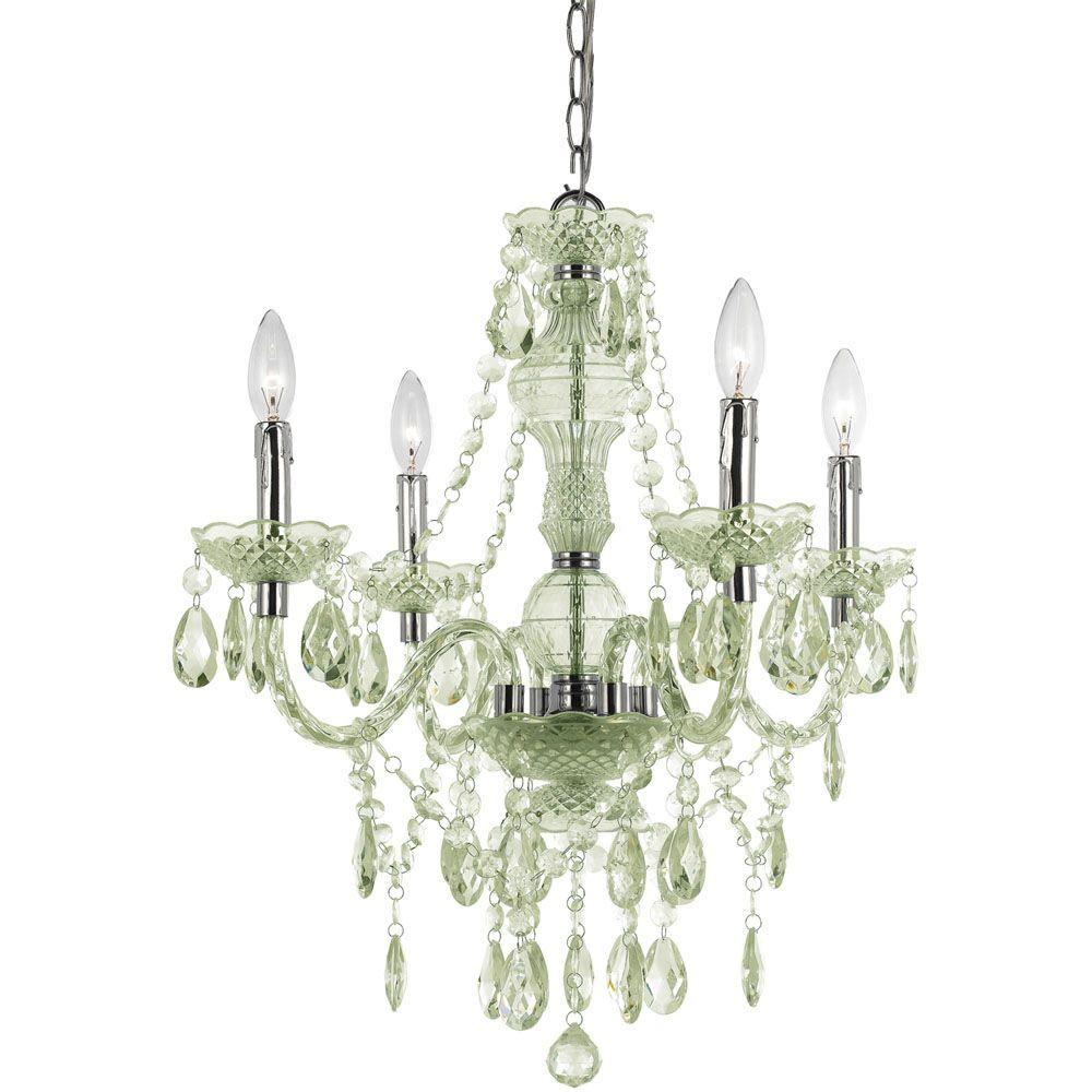 Green chandeliers lighting the home depot naples 4 light chrome mini chandelier with seafoam green arubaitofo Image collections