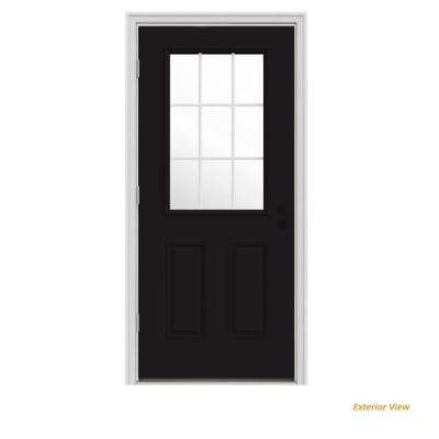 36 in. x 80 in. 9 Lite Black Painted Steel Prehung Right-Hand Outswing Front Door w/Brickmould