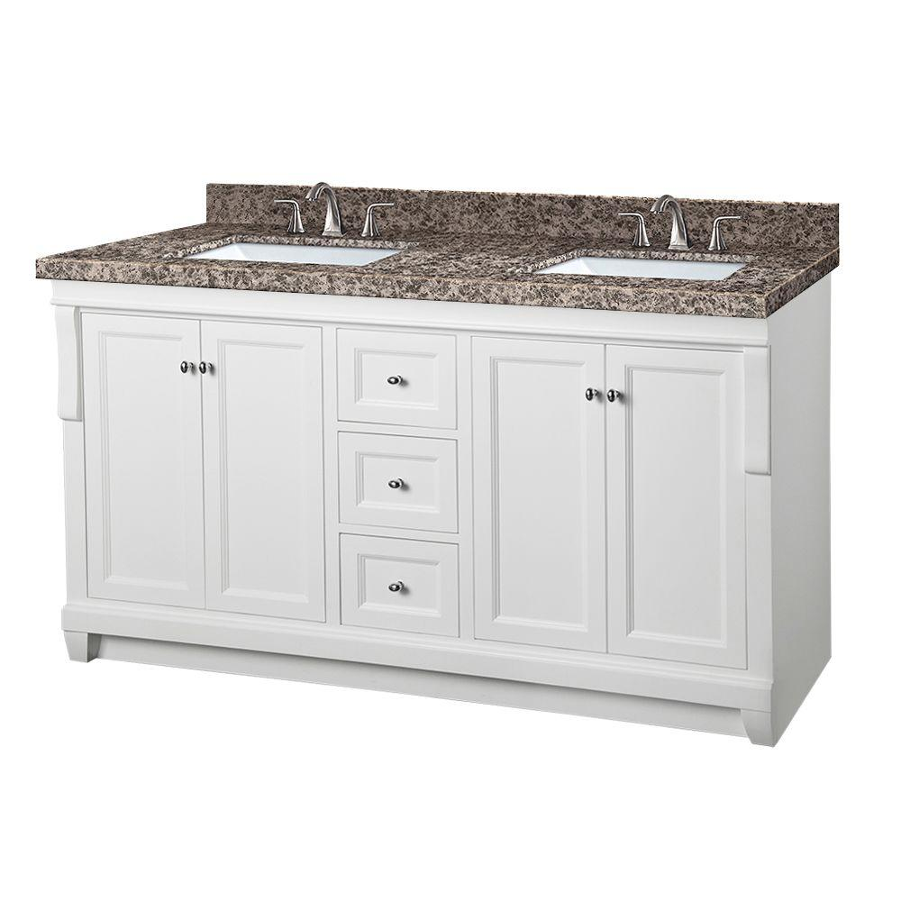 Pegasus Naples 61 in. W x 22 in. D Double Vanity in White with Granite Vanity Top in Sircolo and White Basins was $1599.0 now $1119.3 (30.0% off)