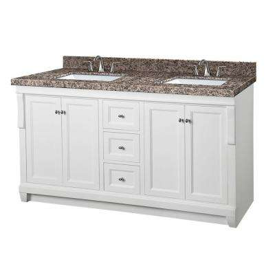 Naples 61 in. W x 22 in. D Double Vanity in White with Granite Vanity Top in Sircolo and White Basins