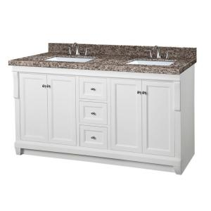 Pegasus Naples 61 inch W x 22 inch D Double Vanity in White with Granite Vanity Top in Sircolo and White Basins by Pegasus