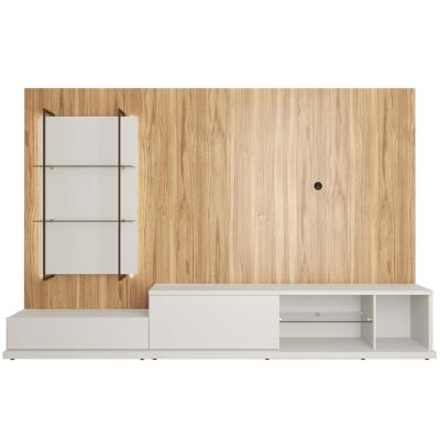 Beaumont 106.29 in. Off-White and Cinnamon Right Modular Entertainment Center Fits 60 in. TV with Cable Management
