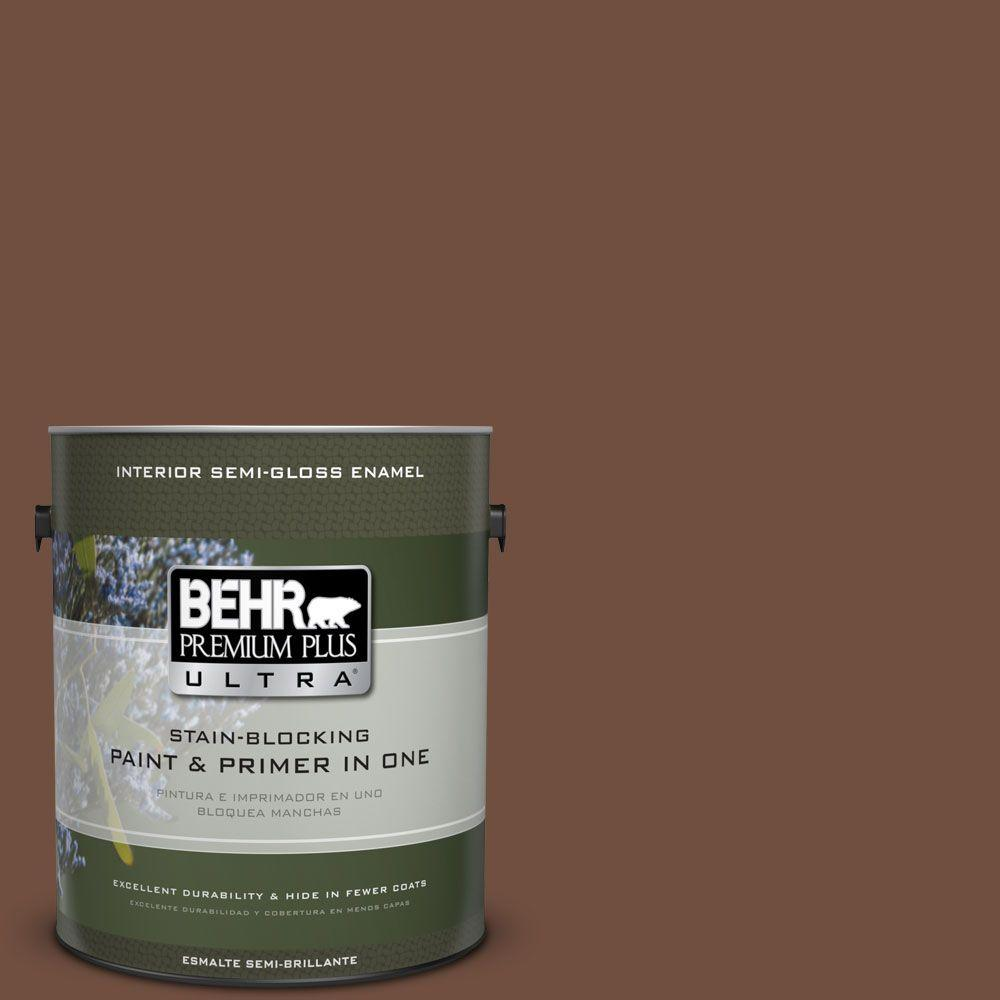 1 gal. #HDC-FL15-04 Cinnamon Crumble Semi-Gloss Enamel Interior Paint