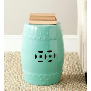 Modern Ming Light Aqua Ceramic Patio Stool