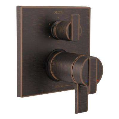 2-Handle Wall-Mount Valve Trim Kit with 6-Setting Integrated Diverter in Venetian Bronze (Valve Not Included)